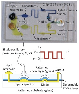 Figure 1 Demonstration of the approach. Construct two flow channels with two sets of microfluidic resistors, capacitors and diodess, and finally feed into a single output in the end. A single oscillatory source is driven. Changing the frequency of the source switches the flow of liquid to the output from one channel to another.